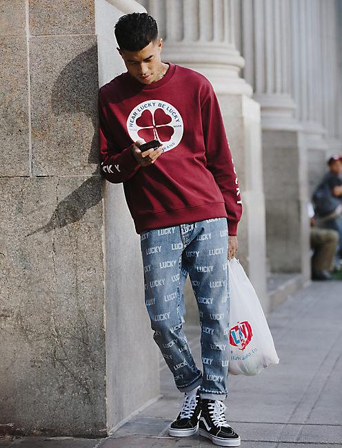 Totally Lucky Clover Circle Crew Sweatshirt,