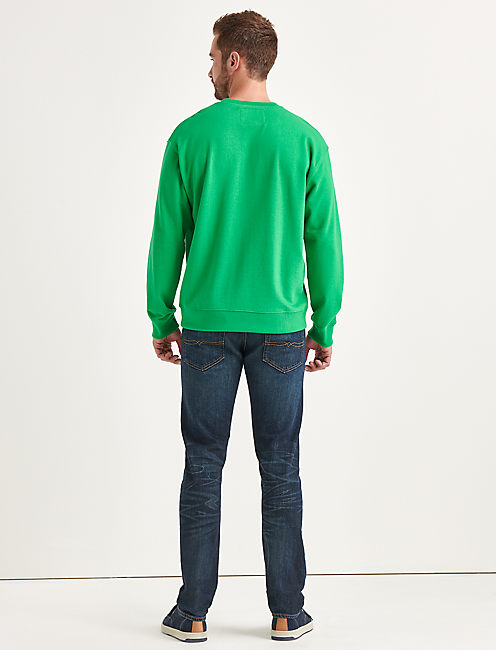 Totally Lucky Stretch Logo Crew Sweatshirt,