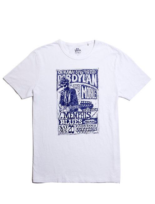BOB DYLAN  POSTER TEE, WHITE