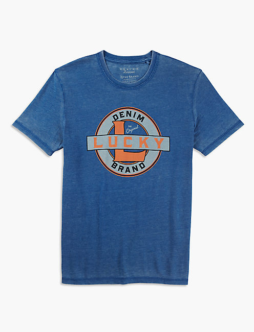 LUCKY BRAND DENIM TEE, MONACO BLUE