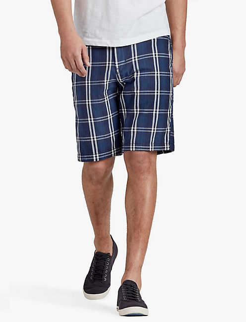 FLAT FRONT DOUBLE WEAVE PLAID SHORT, BLUE MULTI PRINT