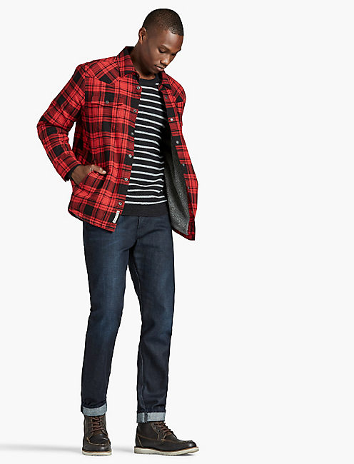 PLAID SHERPA JACKET, RED MULTI