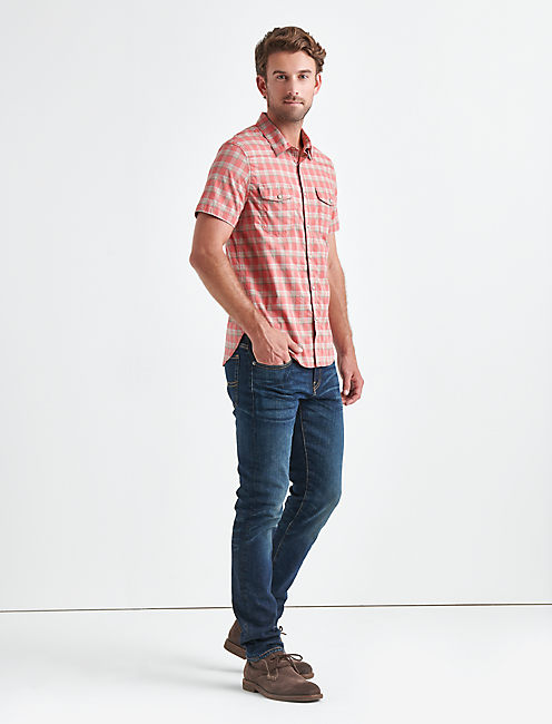 RED WESTERN 40'S STRETCH POPLIN SHIRT, RED PLAID