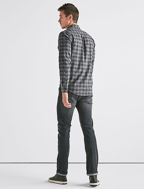 SATURDAY STRETCH LONG SLEEVE WORKWEAR SHIRT, GREY PLAID
