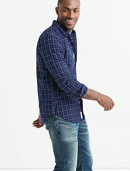One Pocket BALLONA Shirt, BLUE PLAID