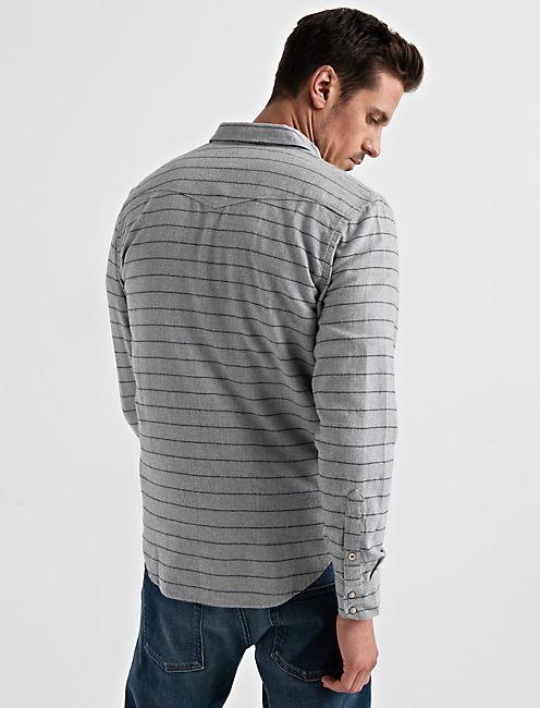 Striped Western Shirt, GREY STRIPE