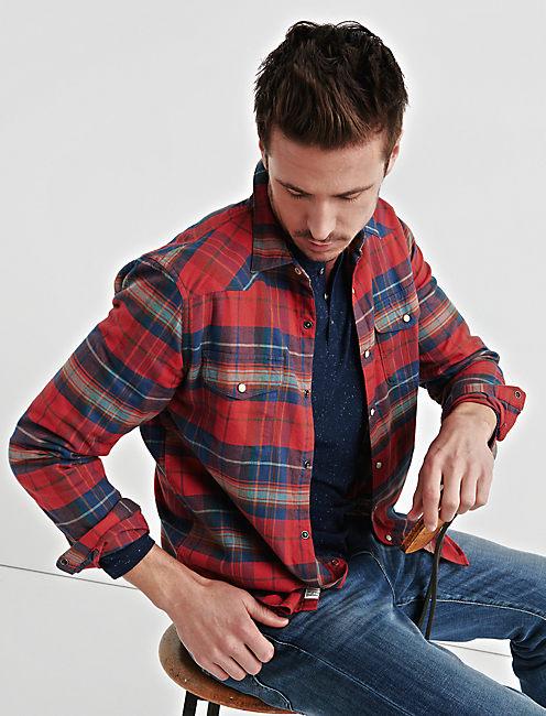 Flannel Western Shirt, RED PLAID