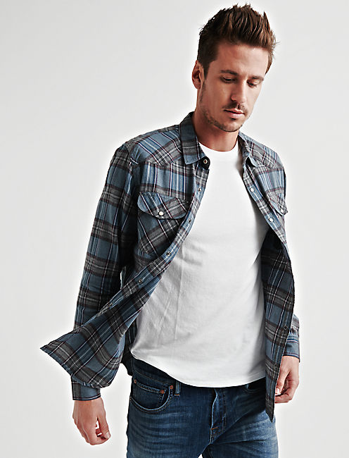 Mateo Western Shirt, BLUE PLAID