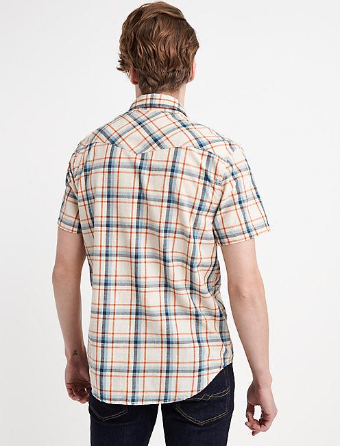 Slub Poplin Western Shirt, NATURAL PLAID