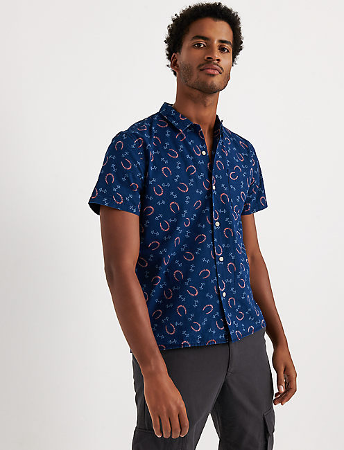 Indigo Club Collar Shirt, BLUE PRINT