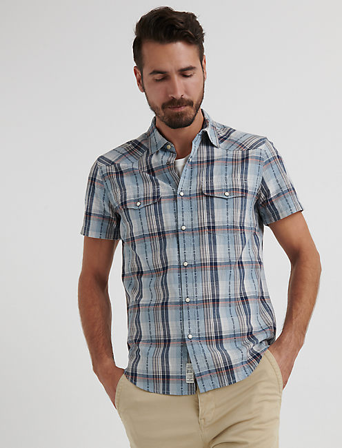 Dobby Western Shirt, BLUE PLAID