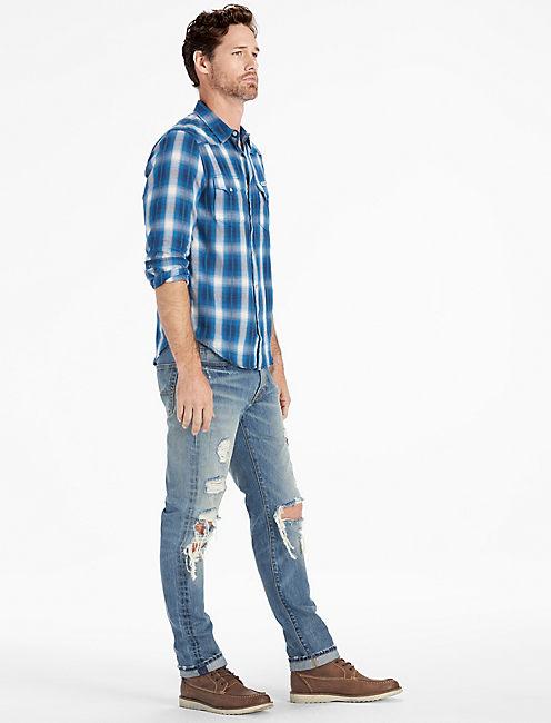 Lucky Blue Dobby Western Long Sleeve Shirt