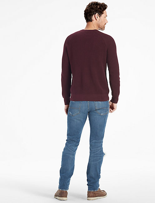 LONG SLEEVE SOLID WAFFLE STITCH CREW SWEATER, BLACK CURRANT