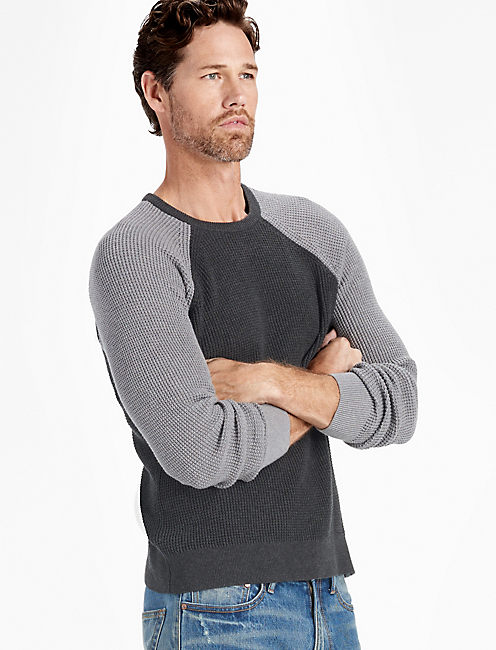 COLOR BLOCK WAFFLE STITCH CREW, CHARCOAL MULTI