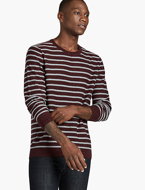 LONG SLEEVE STRIPE SWEATER, BURGONDY STRIPE