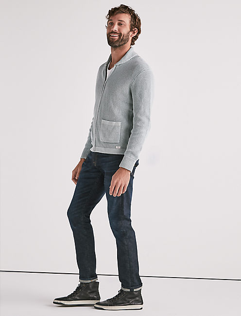 WASHED OUT ZIP SHAWL CARDIGAN,