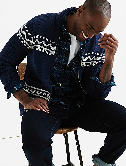 STEERHEAD COWHICAN CARDIGAN, NAVY MULTI