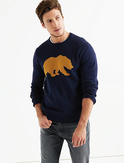 CALIFORNIA BEAR  SWEATER, HEATHER NAVY