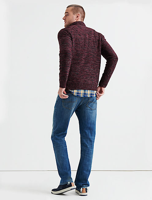 HALF ZIP CABLE MOCK NECK, BURGUNDY