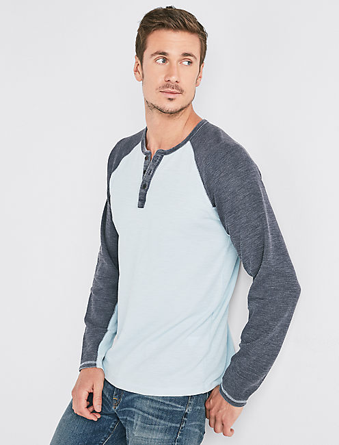 VENICE BURNOUT COLORBLOCK THERMAL HENLEY,
