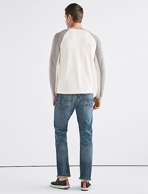 VENICE BURNOUT COLORBLOCK THERMAL HENLEY, MARSHMALLOW