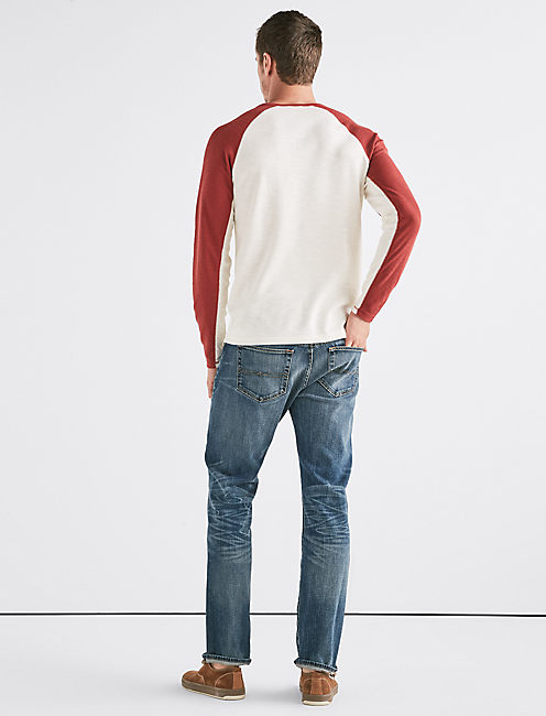 VENICE BURNOUT COLORBLOCK THERMAL HENLEY, RED PEAR