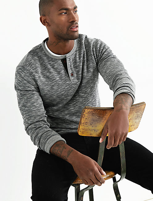 DOUBLE KNIT HEATHER HENLEY, CHARCOAL
