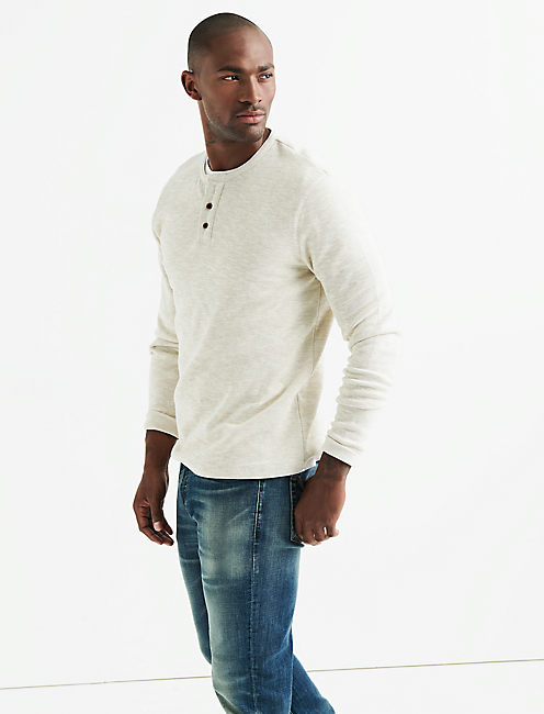 LONG SLEEVE DOUBLE KNIT HENLEY,