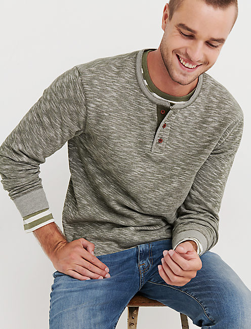 DOUBLE KNIT HEATHER HENLEY, OLIVE