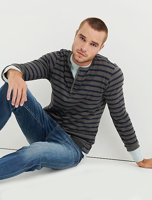 STRIPED COTTON HENLEY,