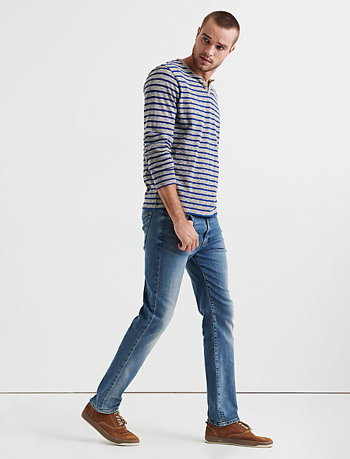 Lucky Long Sleeve Stripe Button Notch