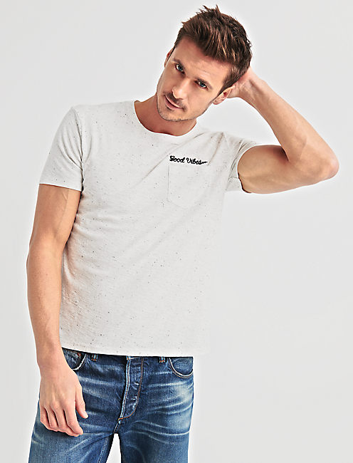Embroidered Snow Heather Tee, WHITE