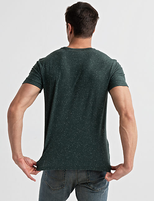 Embroidered Snow Heather Tee, GREEN