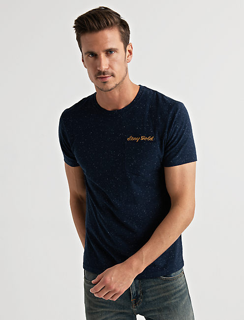Embroidered Snow Heather Tee, AMERICAN NAVY