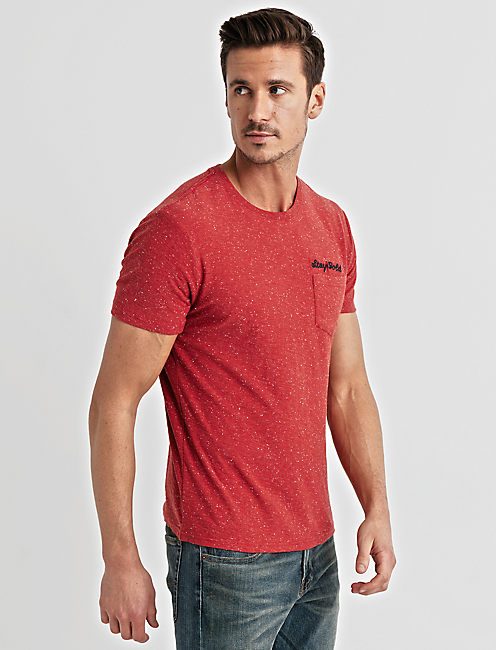 Embroidered Snow Heather Tee, 636 RED