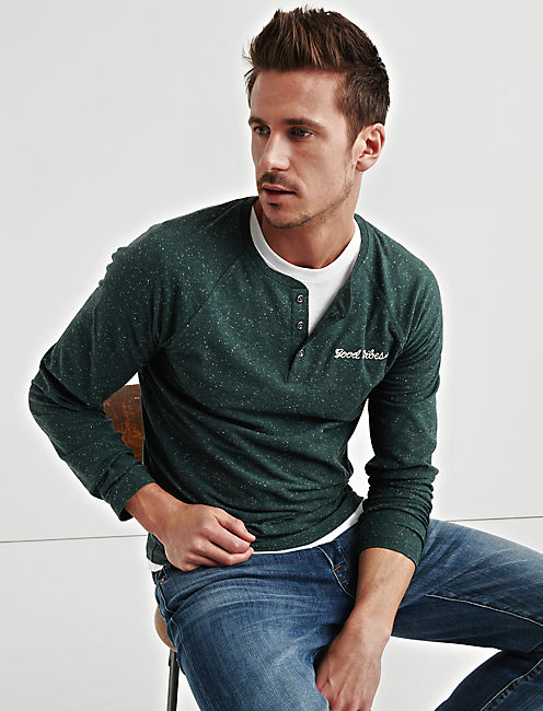 STAY GOLD SNOW HEATHER HENLEY, GREEN