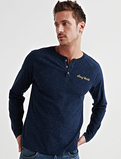 STAY GOLD SNOW HEATHER HENLEY, AMERICAN NAVY