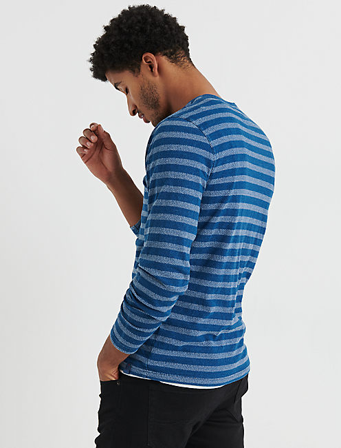 Stripe Indigo Button Notch