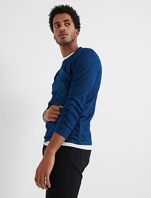 Long Sleeve Indigo Notch Tee