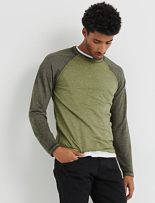 MICROTERRY BURNOUT CREW, LODEN GREEN