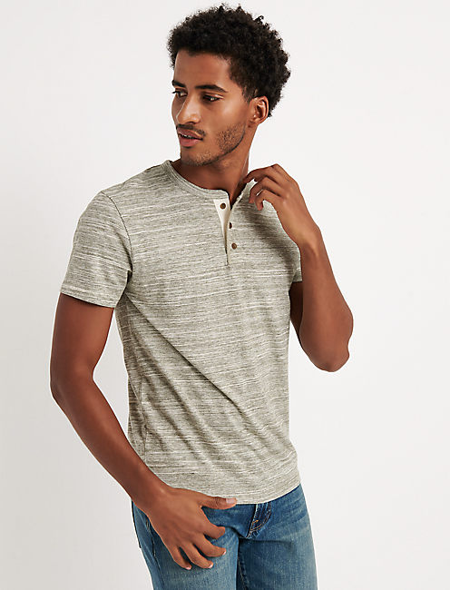 SHORT SLEEVE SPACEDYE HENLEY, SPACEDYE OLIVE