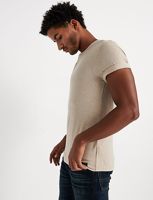SHORT SLEEVE TRIBLEND HENLEY, OATMEAL
