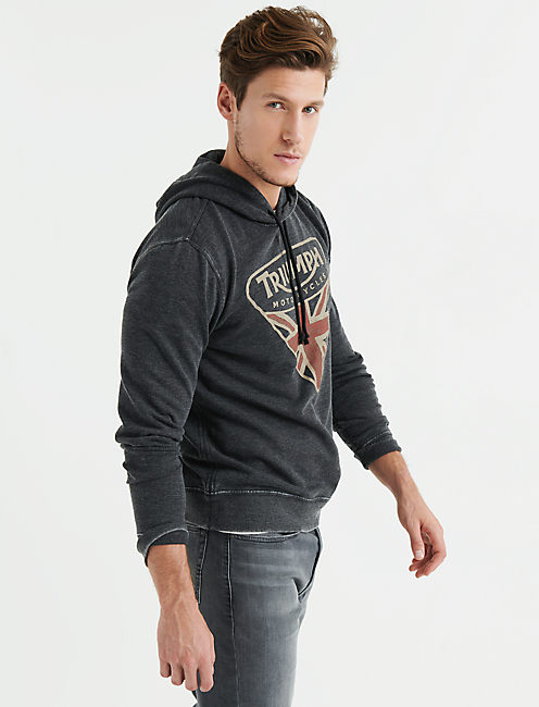 TRIUMPH BADGE BURNOUT FLEECE HOOD,