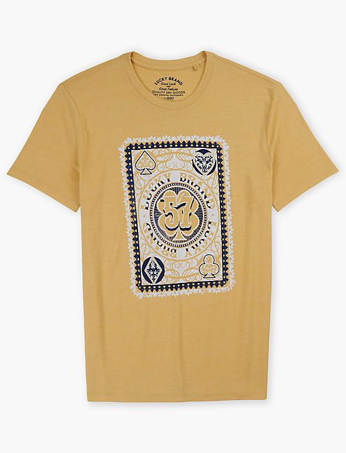 LUCKY POKER CARD TEE, DUSTY GOLD