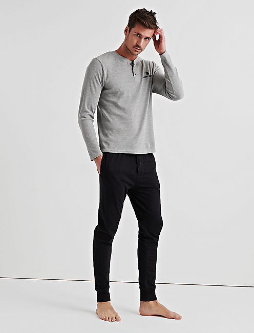 Lucky Gift Long Sleeve Thermal Henley & Sueded Jogger