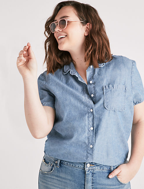 TIE BACK BUTTON FRONT SHIRT,
