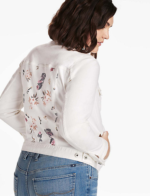 PLUS SIZE DENIM TRUCKER JACKET IN WHITE BOTANICAL TOSS,