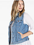 PLUS SIZE DENIM TOMBOY TRUCKER VEST,