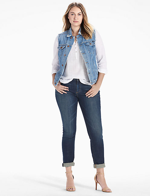 Lucky Plus Size Denim Tomboy Trucker Vest