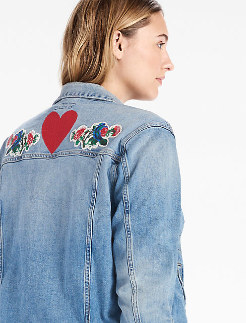 PLUS SIZE DENIM JACKET WITH EMBROIDERY,